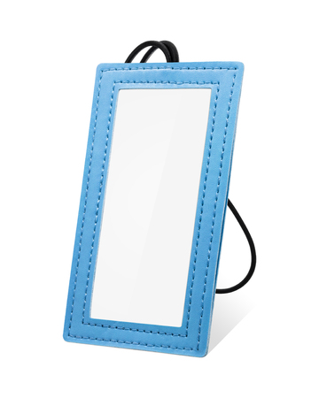 Leather hanging tag isolated on white background. Blue leather tag for your design.