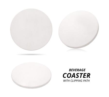 Set of ceramic beverage coaster isolated on white background. Ceramic pad for put your mug. Stockfoto