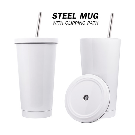 Water steel mug and tube isolated on white background. Insulated water container mug.
