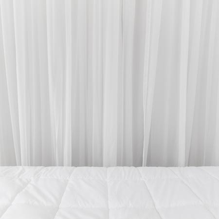 Fondali di biancheria da letto. Fondo bianco del tessuto delle tende. Archivio Fotografico