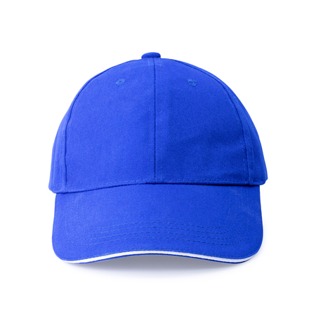 Blue cap isolated on white background. Template of baseball cap in front view. Stockfoto
