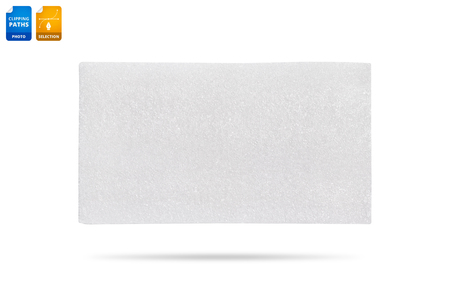 Blank foam board isolated on white background. Synthetic texture background. Detail of plastic material.