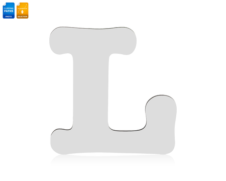 Letters L made from wood material isolated on white background. Blank wooden font for your design. Banco de Imagens