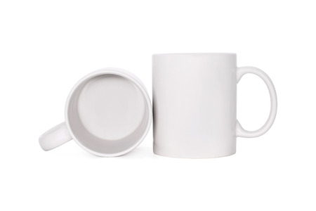 Blank coffee mug isolated on white background. Template of drink cup for your design.