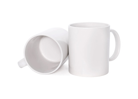 Blank coffee mug isolated on white background. Template of drink cup for your design. .