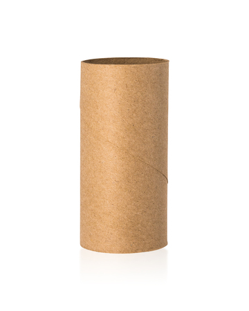 Brown tissues core isolated on white background. Empty paper roll or recycle cardboard.