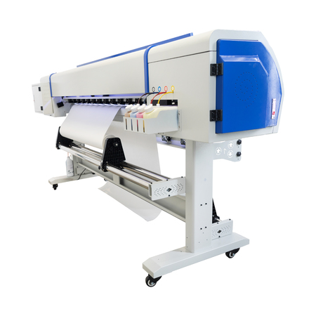 Large format ink jet printer on white background. Vinyl printout machine for use in sticker or poster billboard industry.