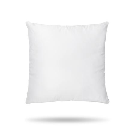 Almohada en blanco aislado sobre fondo blanco. Cojín vacío para su diseño. Foto de archivo