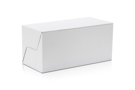 Blank cardboard box isolated on white background. Template of long box for your design.