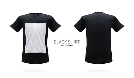 Black t-shirt template on white background.