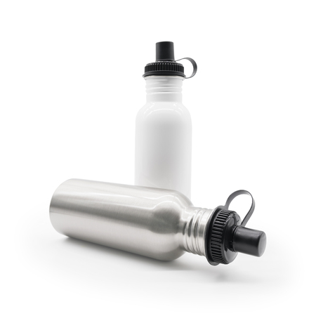 Stainless bottle on white background. Blank aluminum flask and lid for your design.