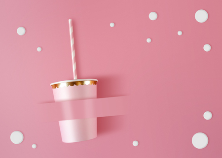 Paper cup with straws on pink celebration background. Pink cups made from cardboard for party style.