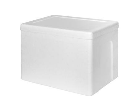 Closed foam storage box  isolated on white background . Insulation box for delivery.