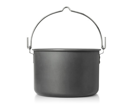 Cooking pot isolated on white background . Outdoor cooking pots for camping. Stok Fotoğraf