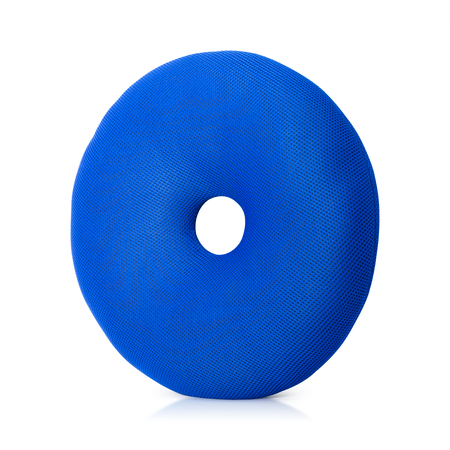 BLue Pillow with donuts shapeisolated on white background . Floor pillows in round shape. Stok Fotoğraf