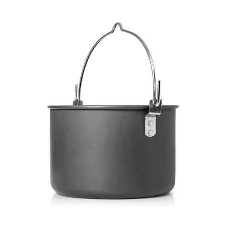 Cooking pot isolated on white background. Outdoor cooking pots for camping. Stok Fotoğraf