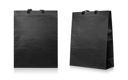 Paper bags isolated on white background . Black shopping bag. Stok Fotoğraf
