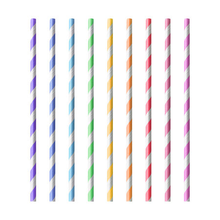 Colorful drinking Straws isolated on white background . Drink tube made from paper material. Stok Fotoğraf