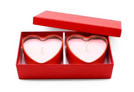 Red heart box package on white background.