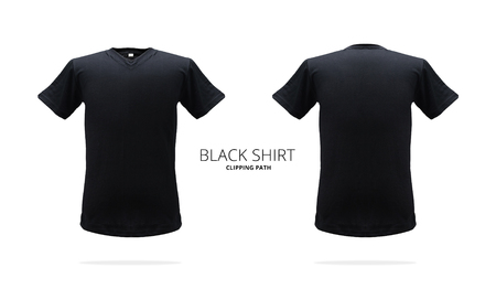 Black t-shirt template on white background. Stock fotó