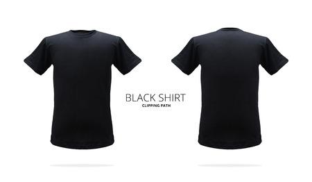 Black t-shirt template on white background. Stok Fotoğraf