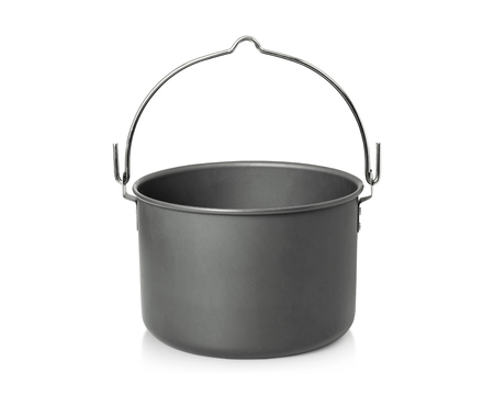 Cooking pot isolated on white background. Outdoor cooking pots for camping. ( Clipping path )