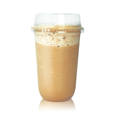 Chocolate latte coffee in plastic cup isolated on white background. Brown mocha milk. ( Clipping path ) Stock fotó