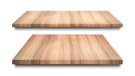 Estantes de madera aislados sobre fondo blanco. Estante de madera en blanco o exhibición de productos. (Trazado de recorte)