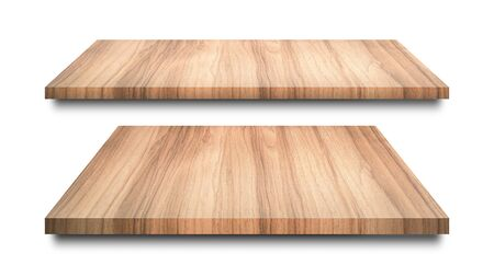Wooden shelves isolated on white background. Blank wood shelf or product display. ( Clipping path )