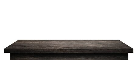 Empty Wood table with black wood planks isolated on pure white background. Wooden desk and black shelf display board with perspective floor. ( Clipping path ) Imagens