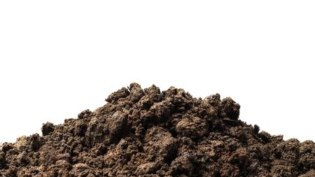 Pile of soil isolated on pure white background with ground suitable for growing plants or gardening. Natural soil piles filled with good minerals or natural pH.