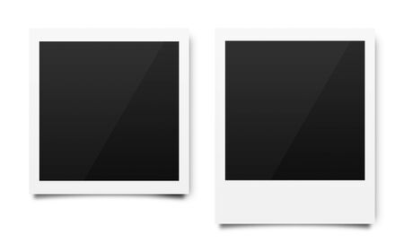 Empty photo frames mockups template on a pure white background for putting your pictures. Paper sheet for printing images or recording picture of film cameras. ( Clipping path )
