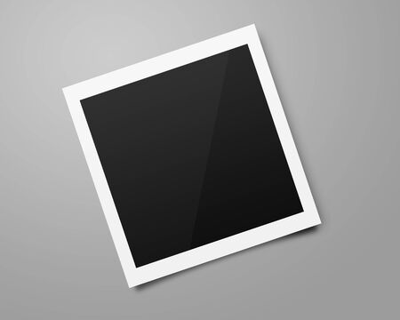 Empty photo frames mockups template on a gray background for putting your pictures. Paper sheet for printing images or recording picture of film cameras.