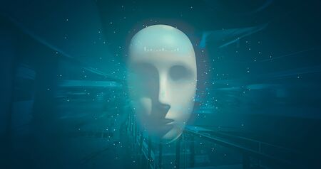Artificial intelligence of robot heads in the future world on the background of high technology. Development of technology and mechanical stability engineering.