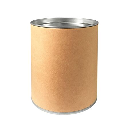 Cardboard Box in cylinder shape and steel cap isolated on pure white background. Aluminum jar for snack packaging.