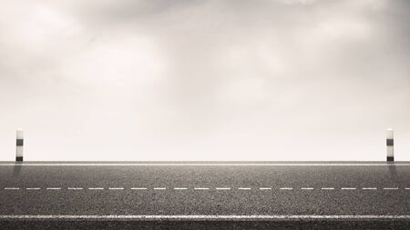 Empty asphalt highway road with milestones and sky background for design backdrops. Stockfoto
