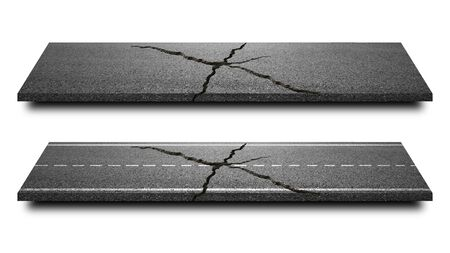 Broken of Asphalt road isolated in pure white background. Straight highway of cracked road lane for transportation or construction. Stockfoto