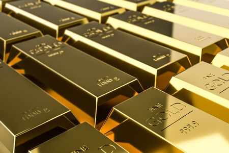 Pure gold bars on rich background of wealth from trading profits of fast growing businesses. Contracting profit in stock market and stocks of gold. Realistic 3D rendering. Stockfoto