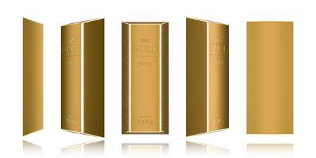 Pure gold bars isolated on white background of wealth. Realistic 3D rendering.
