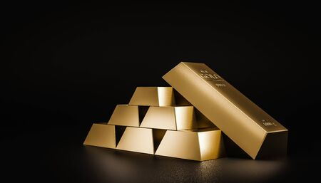 Stack of gold bars on dark background of wealth from trading profits of fast growing businesses. Contracting profit in stock market and stocks of gold. Realistic 3D rendering. Stockfoto