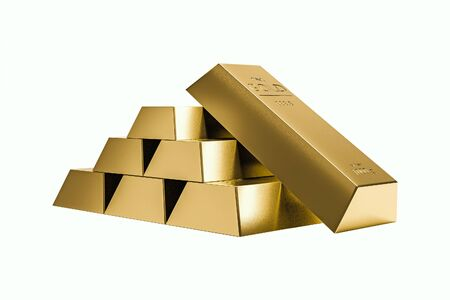 Stack of gold bars isolated on pure white background of wealth. Realistic 3D rendering. ( Clipping path )