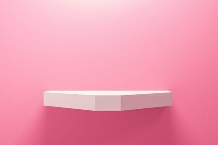 Front view of empty shelf on pink wall background with modern minimal concept. Display of backdrop shelves for showing. Realistic 3D render.
