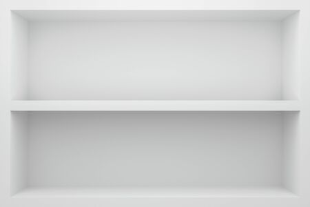 Front view of empty shelf on white table showcase and wall background with modern minimal concept. Display of backdrop shelves for showing. Realistic 3D render.