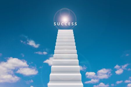 High of stair and success on top sky background competition concept. Road to successful or victory goal on stairway. Realistic 3D rendering.