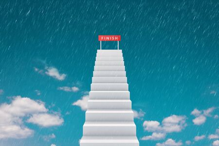 High of stair and finishing line on top sky background with raining competition concept. Road to successful or victory goal on stairway. Realistic 3D rendering.