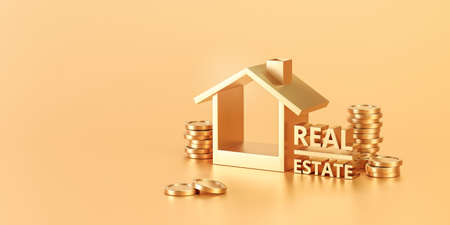 Golden real estate or home property investment on golden background with residential finance economy. 3D rendering.