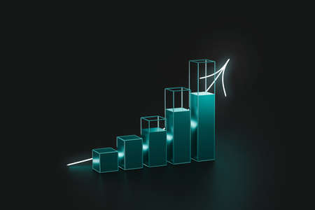 Futuristic financial graph of earning profit and economy concept on success background with glowing light business chart. 3D rendering.