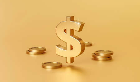 Gold dollar sign or finance money currency on golden background with financial investment. 3D rendering.