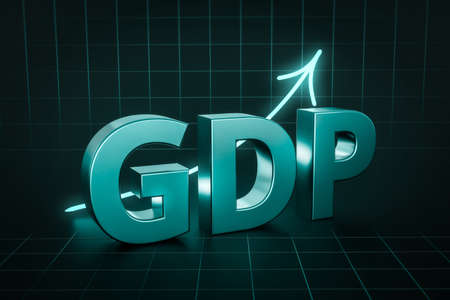 Gross Domestic Product or GDP economy value on business finance background with financial profit rate. 3D rendering.