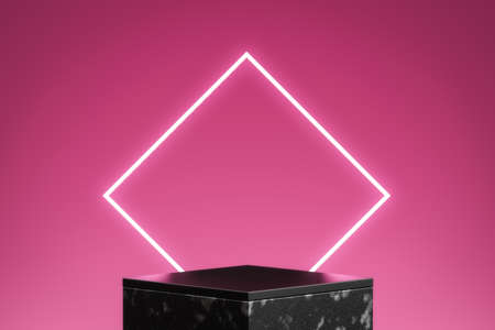 Neon pink product stage background or podium pedestal with glowing light blank display platform. 3D rendering.